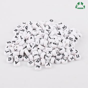 Russia Beads for Kids Russian Letter Beads Round Beads 4*7mm 3600pcs White Acrylic Spacer Beads for Jewelry Making Alphabet Bead фото