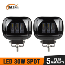 OKEEN 6D עדשת 5 אינץ 30W עגול כיכר מבול קרן Led עבודה אור לאופנוע SUV רכב 4x4 משאית Offroad 24V 12V אורות בר
