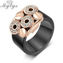 Mytys модное черное кольцо из акрила и хрусталя невидимая установка желтое и белое золото женское кольцо R1777 R1778