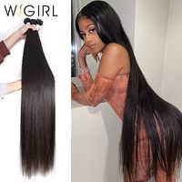 Wigirl 28 30 32 40 pulgadas largo Remy indio cabello humano tejido recto 1 3 4 5 paquetes oferta Super vendedores naturales de d