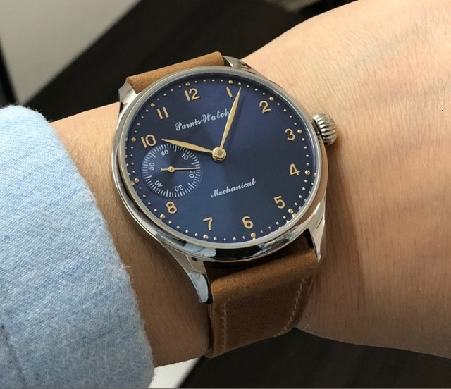 Sapphire crystal or Mineral glass 44mm PARNIS blue dial Asian 6497 Mechanical  movement mens watch  pa49-20