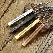 Vnox barra quadrada personalizado nome personalizado colar feminino jóias russo francês 100 língua
