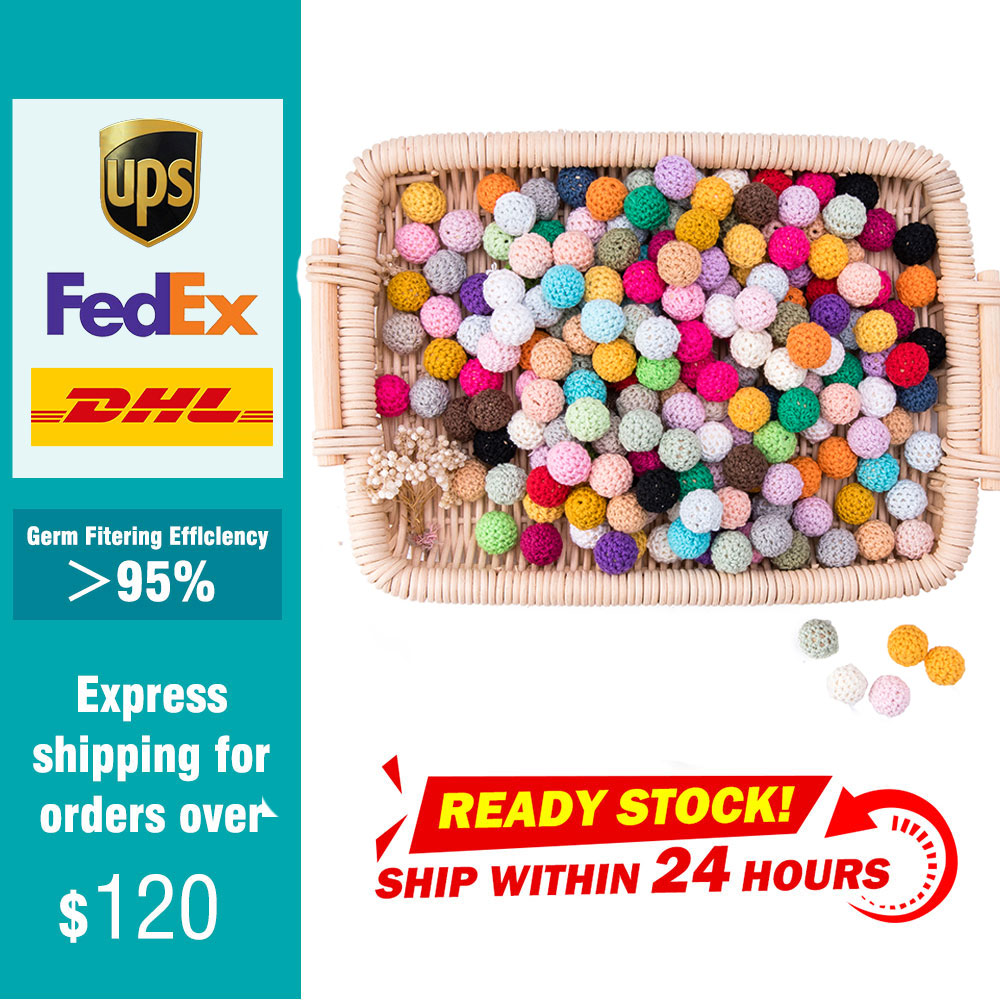 100pc 20mm Crochet Beads Chewable Tooth Nursing Necklace Wood Beads DIY Wooden Teething Knitting Beads Jewelry Baby Gifts