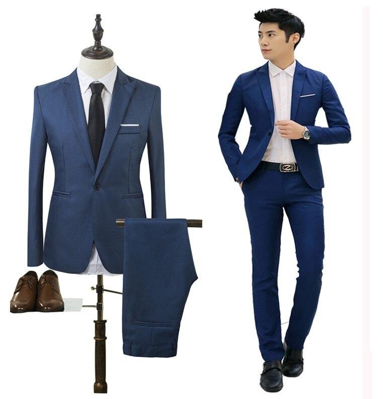 Men Suits Set Male Blazers Suit Slim Fits Suit For Men Business Wedding Formal Traje Hombre Classic Black Costume Homme 2PCS