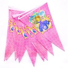 Cartoon 2.5m/set Sofia Princess Banner Flag Theme Party Supplies For Kids Happy Birthday Decoration Baby Shower Festival