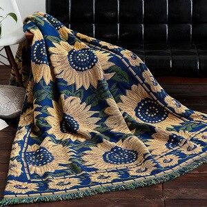 Słonecznik dzianiny rzut koc kanapa bawełniania rzut koc amerykański sofa poduszki kraju sztuki tkaniny sofa okładka koc strona główna Textil