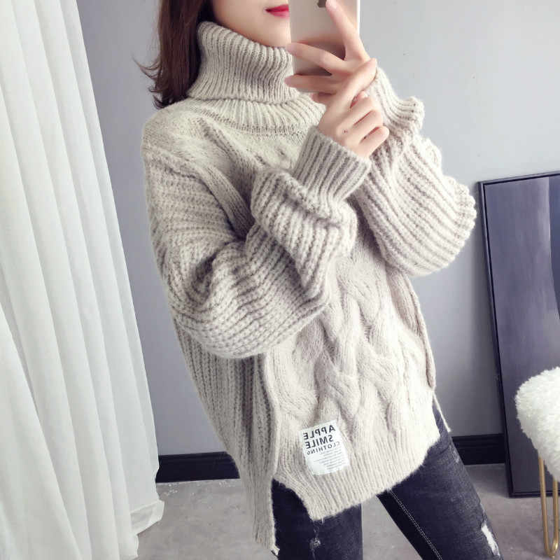 2019 Cotton New Sweater Women Spring Autumn Solid Knitted Pullover Casual Turtleneck Thick Female Knit Tops