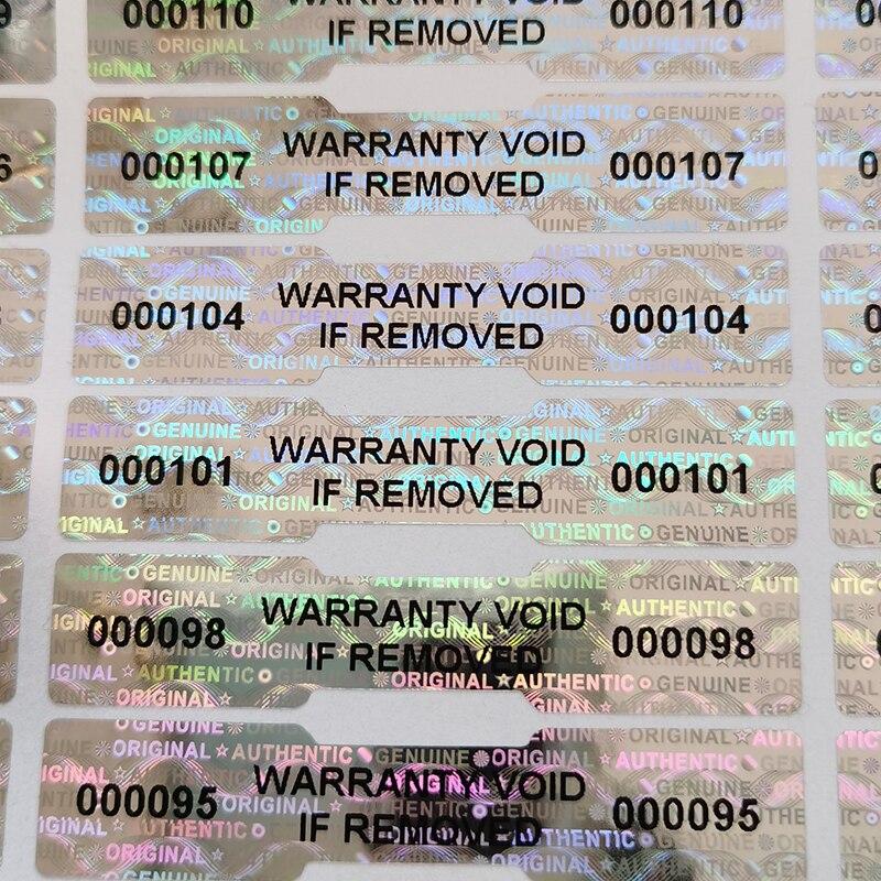 Голографическая гарантийная наклейка, 1000 шт., 50 мм x 10 мм, герметичный номер с защитой от подделки, защитная этикетка с логотипом на заказ