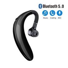 Sem fio bluetooth 5.0 orelha gancho fone de ouvido esporte negócios fone de ouvido único fone handsfree fones com microfone smartphone