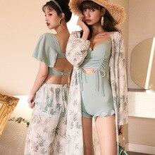 Outputs Bath For Beach Women Bikini 2021 Plus Size Swimwear New Swimsuit One Piece Lady Cover Chiffon Long Sleeve Push Up Suit