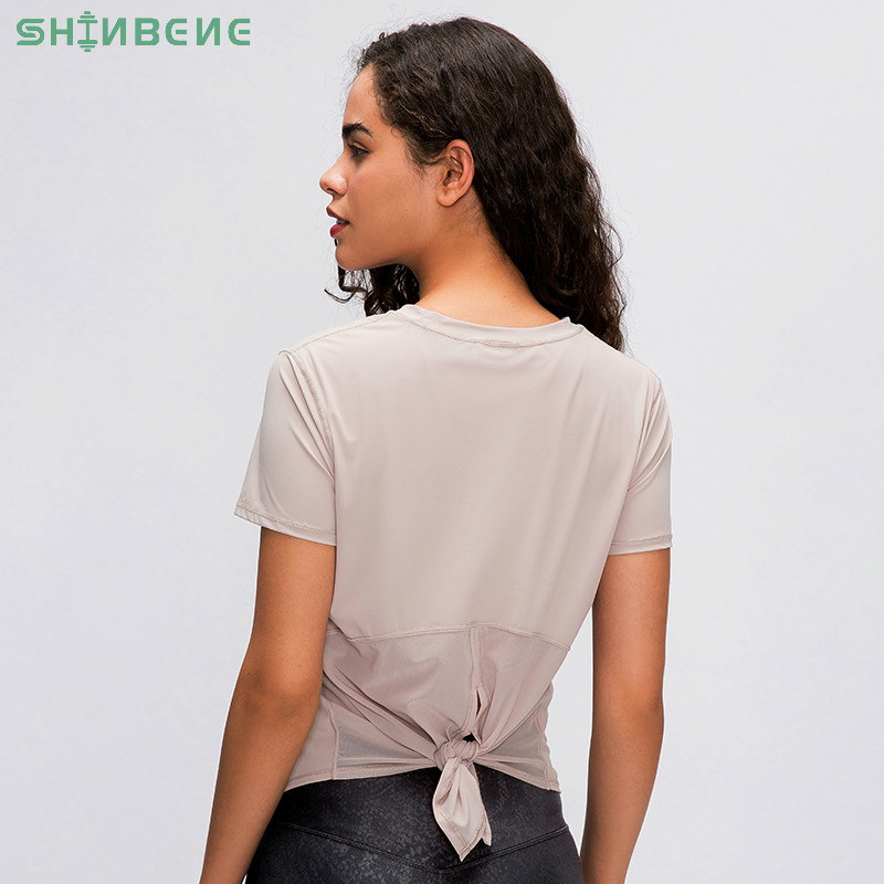 SHINBENE Back Mesh Patchwork Yoga Sport T-shirt Women Loose Fit O-neck Workout Running Tee Tops Fitness Short-Sleeved Shirts