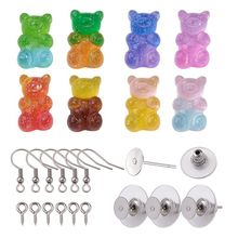 Bracelet Cabochons Jewelry-Making Diy Resin Cute for Earring Findings Bear-Shape 1set