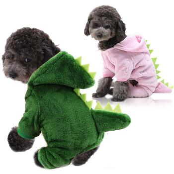 Fleece Dinosaur Transformation Hoodie Pet Cat Warm Four-legged Dog Clothes Small Dog Clothes  Pet Clothes For Large Dogs