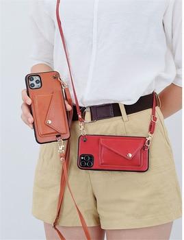 Чехол-Кошелек с длинной цепочкой через плечо для iPhone 11 pro max XR XS Max 7 8 6s Plus, кожаный мягкий чехол с ремешком
