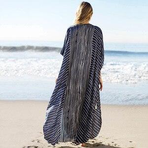 Image 4 - 2020 حجم كبير مخطط الصيف بحر الشيفون قفطان شاطئ امرأة تونك حمام فستان رداء بلاج ملابس سباحة حريمي التستر # Q844