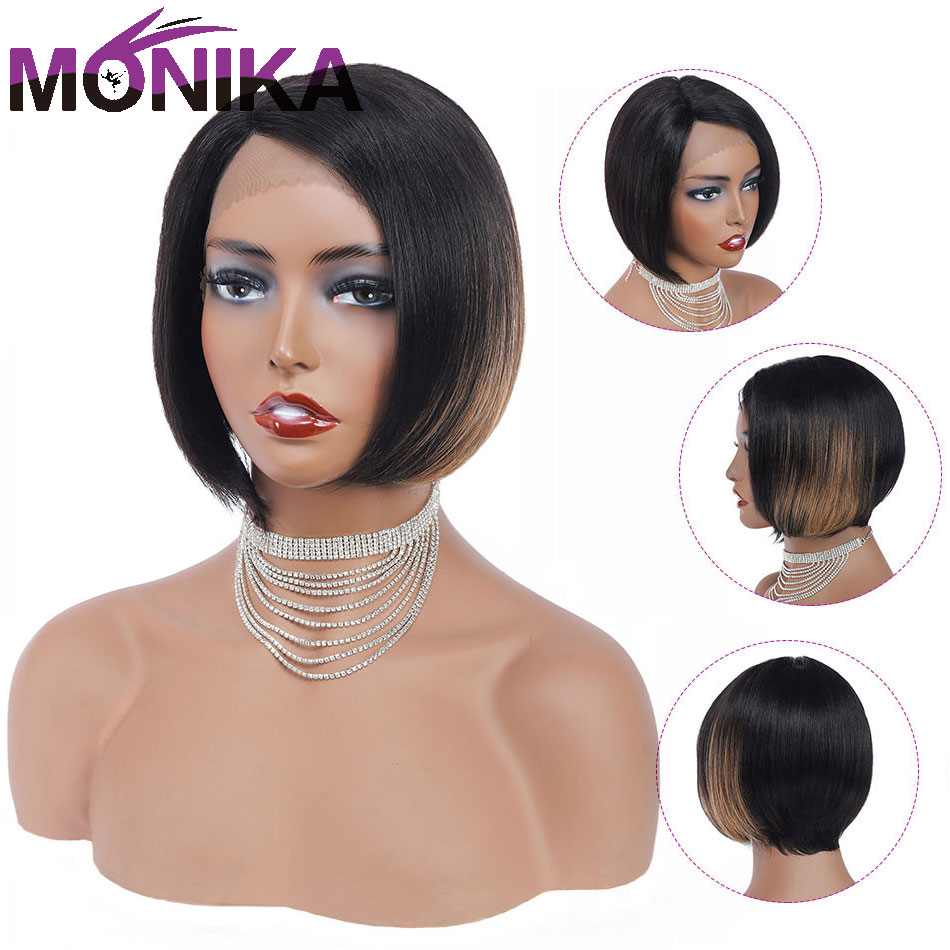 Monika U Part Wig #T1BS27 Ombre Brazilian Short Human Hair Wigs Remy Hair Straight Bobo Lace Wig 150%Density Perruqu Women's Wig