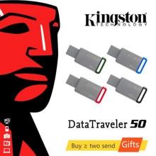 Kingston-unidad Flash USB 3,1 DT50 de acero inoxidable, pendrive de 32GB, 64GB, 128GB, 16, 32 y 64G