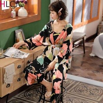 ¡Novedad de otoño! Pijamas para mujer, cárdigan, chaleco y pantalones, conjunto de 3 uds. De ropa de dormir con estampado Floral, ropa suave elegante para el hogar, conjuntos de pijamas para mujer