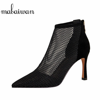 2020 Summer Hollow Out Women Sandals Casual Gladiator Thin High Heel Shoes Ankle Boots Cool Bandage Roman Retro Mesh Women Pumps