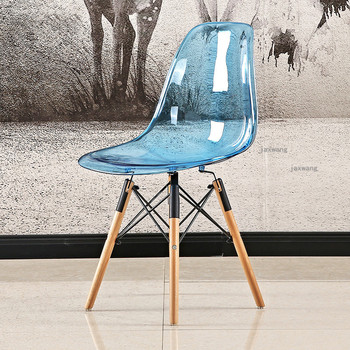 Nordic Plastic Transparent Dining Stools Modern Leisure Dining Chair Furniture Backrest Acrylic Dining Chair Negotiation Chair