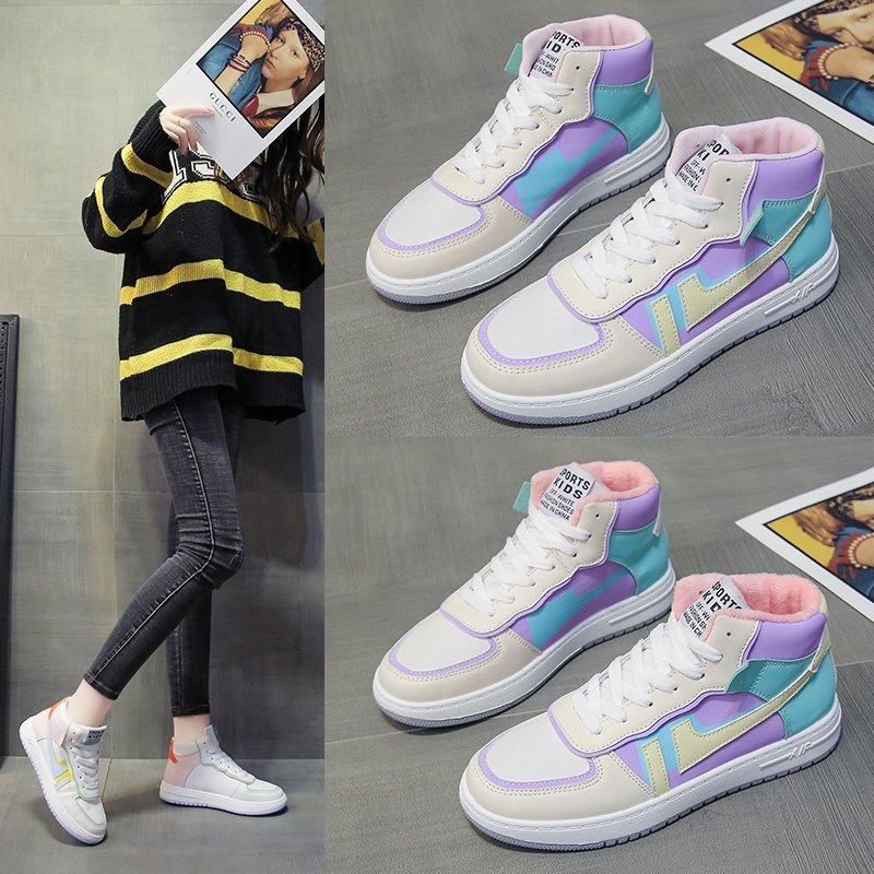 Winter High Top New Women Fashion Sneakers Cold Protection Keep Warm Plus Velvet Women Shoes Outdoor Walk Women Cotton Shoes