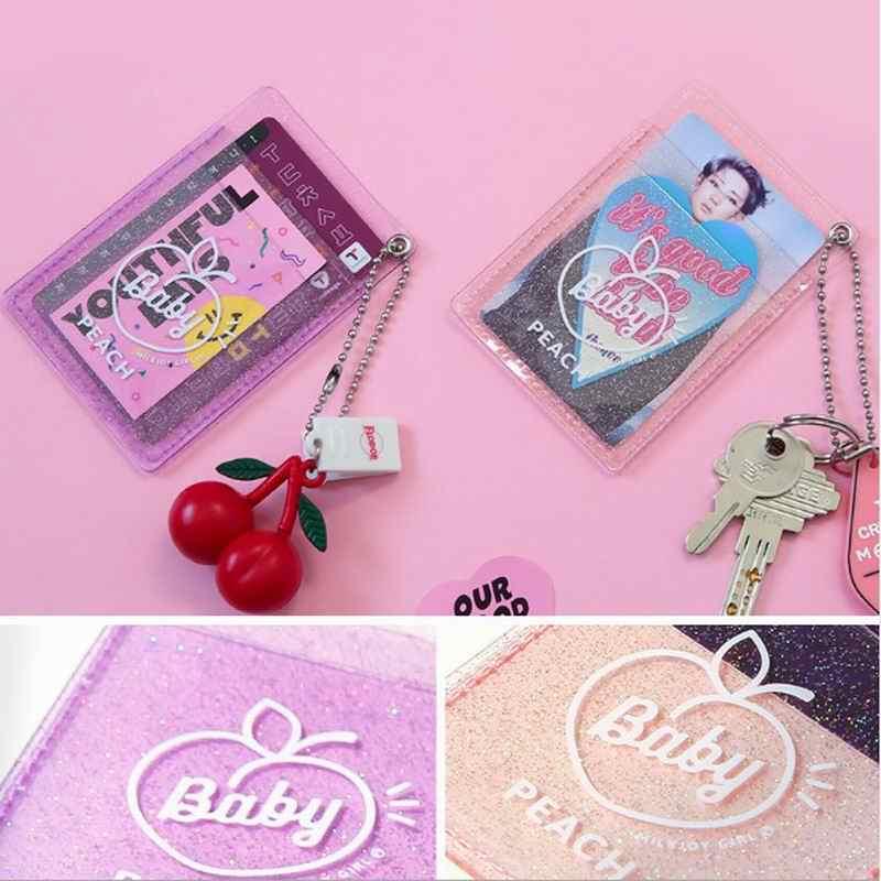 Bentoy Transprent 星の女の子学生バス銀行カードバッグレター桃キーカードホルダー韓国インファッションバッグアクセサリーカードケース
