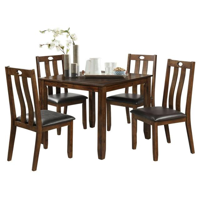 5-Piece Wood Square Dining Table Set  1