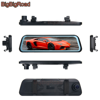 BigBigRoad Car DVR Dash Camera Stream RearView Mirror IPS Screen For Toyota Fortuner 86 Hiace Vellfire Estima Sienna Tundra FCHV image