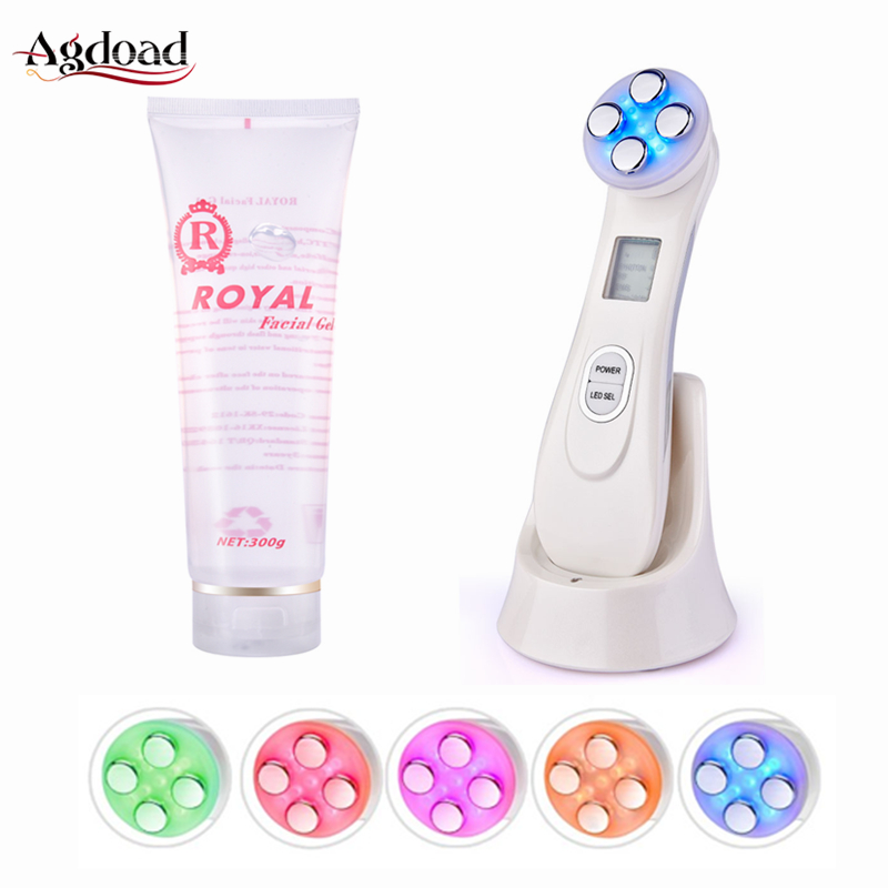 5 In 1 Led Skin Tightening Machine With Moisturizing Gel RF&EMS Electroporation RF Radio Frequency Facial Lifting Skin Care Tool