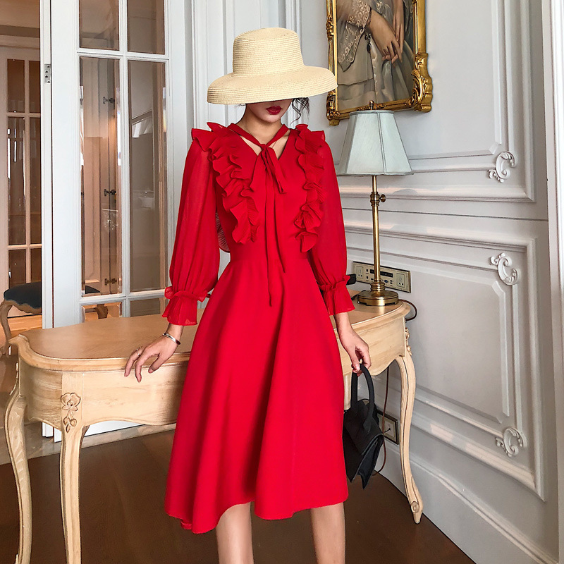 Red/Black Long Sleeve Dress Bow Tie Neck Ruffles Knee-length A-line Dress 2019 Autumn Fashion Elegant Ladies Girls Casual Dress