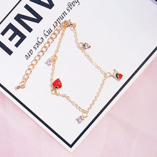 Japanese and Korean Simple Strawberry Bracelet Simple Sweet Love Zircon Small Fresh Student Bracelet Friends Each One(China)