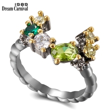 DreamCarnival 1989 New Arrive Women Rings Natural Feel Green Tone Zircon Wedding Must Have Unique Daily Wearing Jewelry WA11751