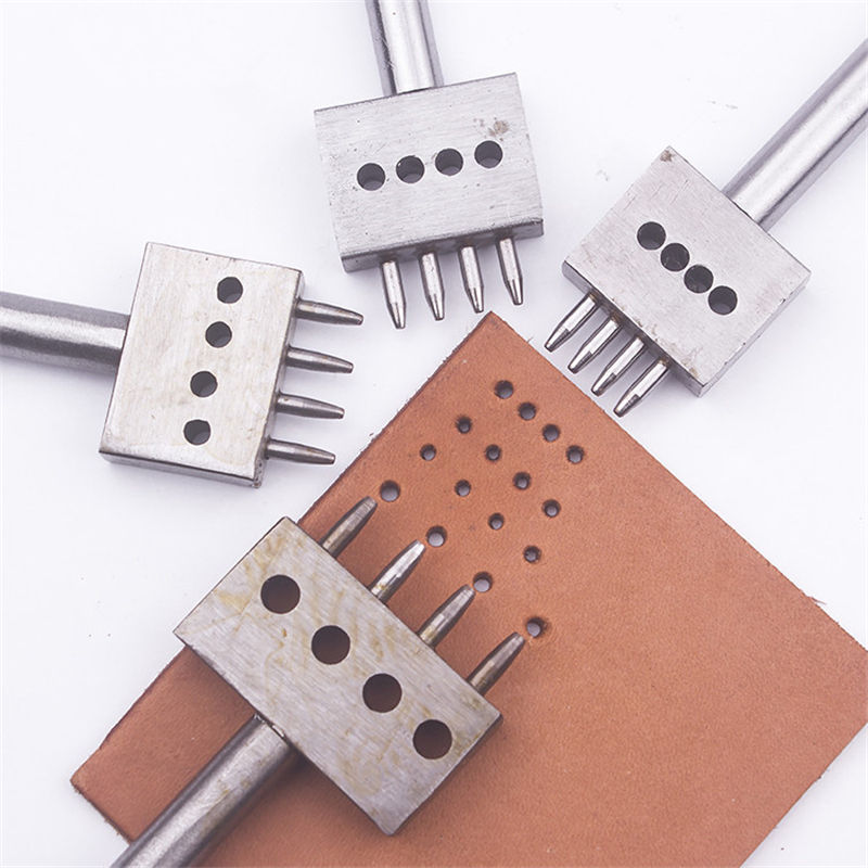 Spacing 4 5 6 8mm Leather Hole Punches DIY Hand Perforated Round Stitching Punch Tools Hole Cut Leather Punching Tool 2/4/6/Hole