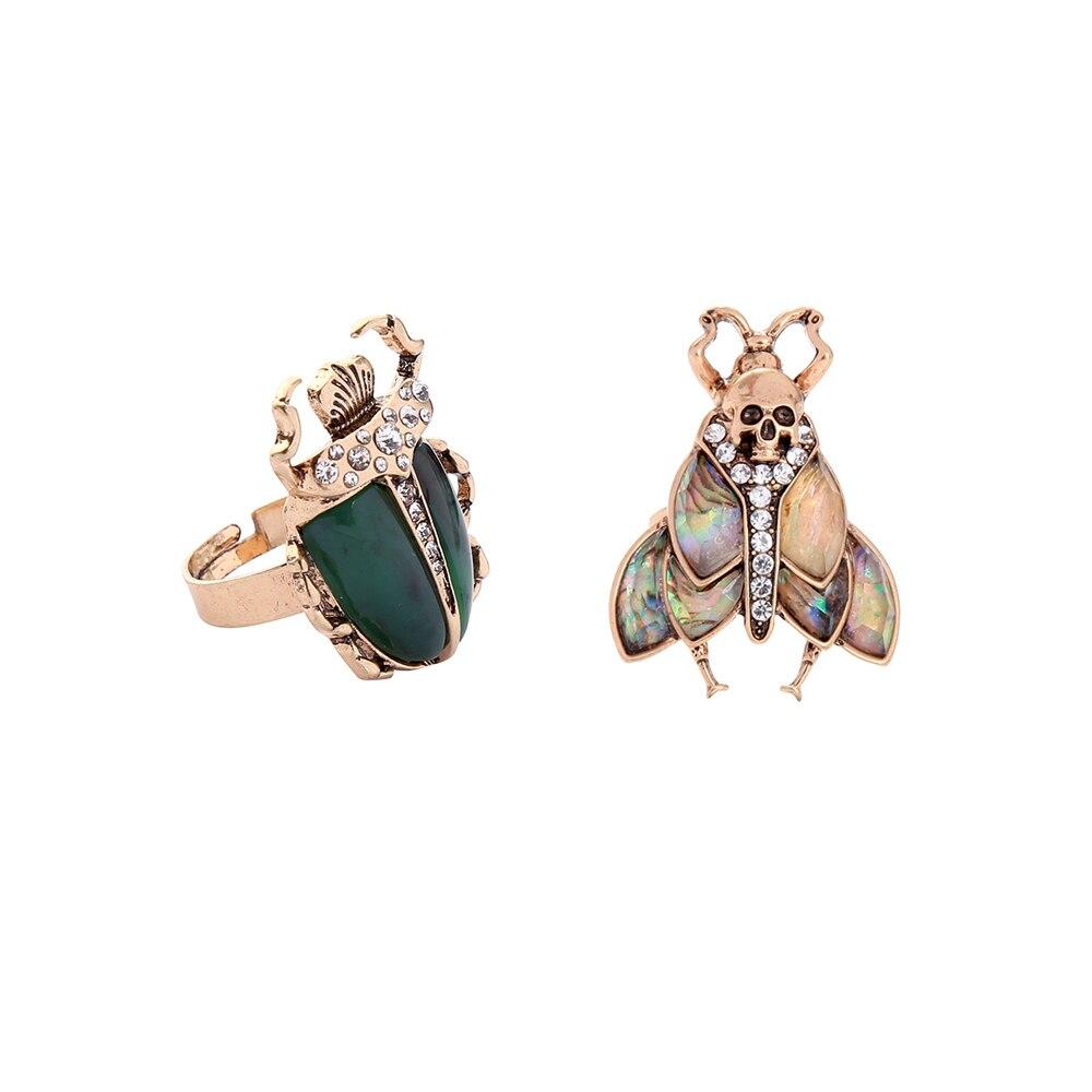 2020 novo desin verde resina pedra besouro inseto ajustar anéis para festa feminina