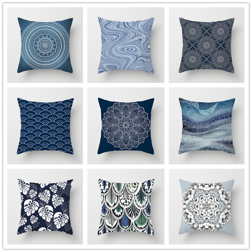 New Mandala Style Pillow Case Square Polyester Throw Pillow Cover 45*45 Cm Bedroom Home Office Decorative