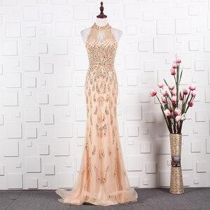 Image 4 - YY020 Churlya Wurfel dubai luxury evening gown latest gown design halter evening dress mermaid abendkleider 2020 kristall luxus