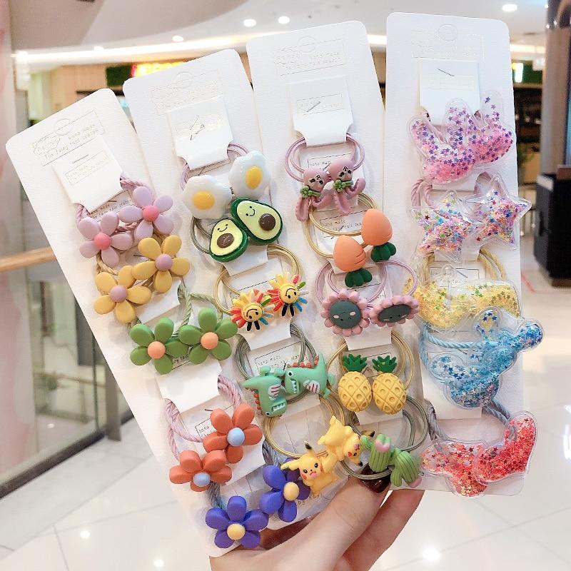 3/6/10Pcs/Set Girls Cute Cartoon Animals Fruit Elastic Hair Bands Scrunchies Ponytail Holder Headbands For Kids Hair Accessories