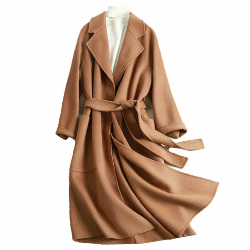 Gute qualität band mäntel 2019 neue doppelseitige kaschmir Alpaka wolle mantel samt mantel lange wolle mantel witner herbst jacke