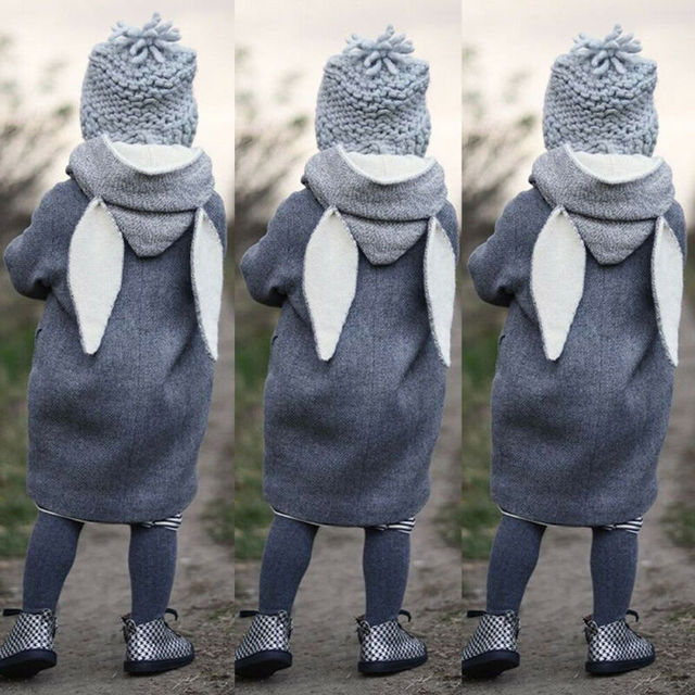 Toddler Clothes  Cute Long Rabbit Ear Hooded Coat