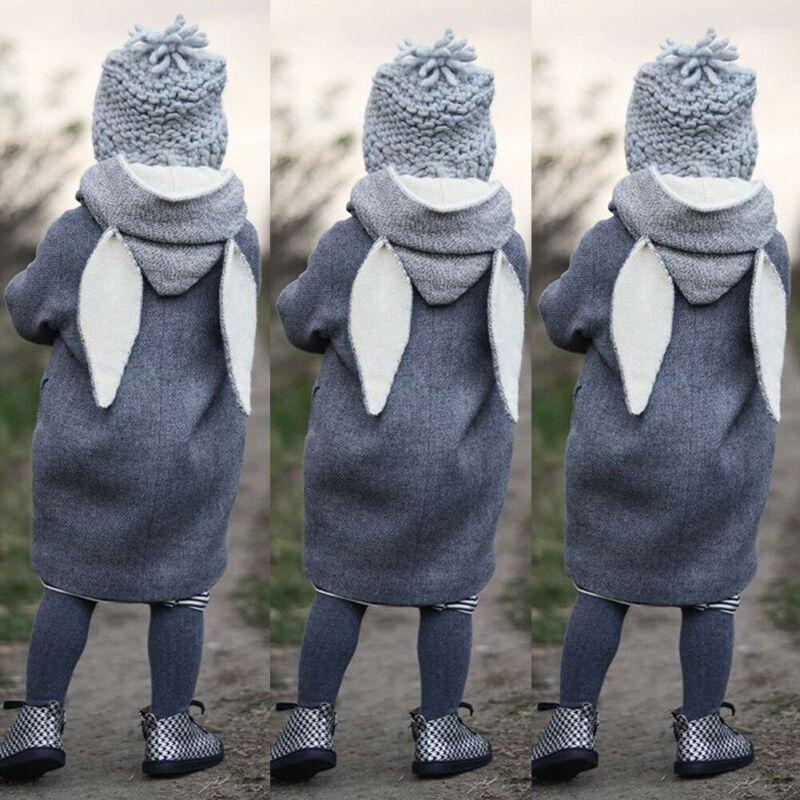 Toddler Kid Girls Autumn Clothes Boy Clothes  Cute Long Sleeve Rabbit Ear Hooded Coat Warm Jacket Outwear Windbreaker