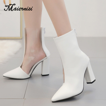 MAIERNISI Transparent stitching boots thick heel shoes PVC women pointed autumn and winter zipper rain