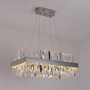 Image 3 - Lustre suspendu moderne pour salon de luxe rectangle cuisine île lampes en cristal chrome led lustres pour salle à manger