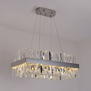 Image 3 - Luxury rectangle crystal chandelier lighting for dining room kitchen island lamps hanging modern chrome led chandeliers