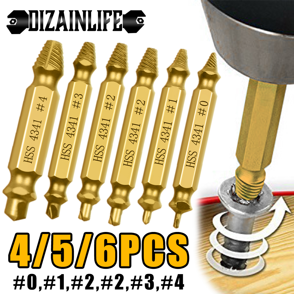 4/5/6 PCS Damaged Screw Extractor Drill Bit Set Stripped Broken Screw Bolt Remover Extractor Easily Take Out Demolition Tools