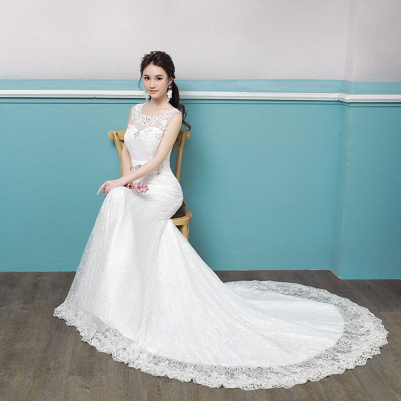 Sleeve Rushed Wedding Dress 2020 New Cultivate Morality Bridal Gowns Female Small Trailing Sen Is Contracted Show Thin Light