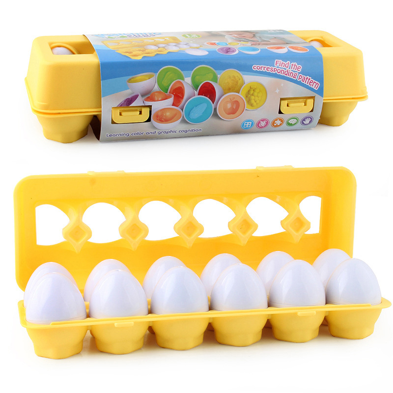 12PCS Montessori Learning Education Math Toys Smart Eggs 3D Puzzle Game For Children Popular Toys Jigsaw Mixed Shape Tools 3
