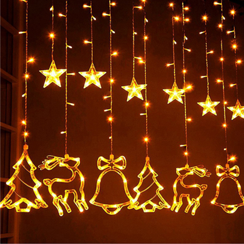 3x1M Elk Bell String Light Led Curtain Light Christmas Room Decoration Holiday Lanterns Hanging Lights Set Mori Stars Christmas