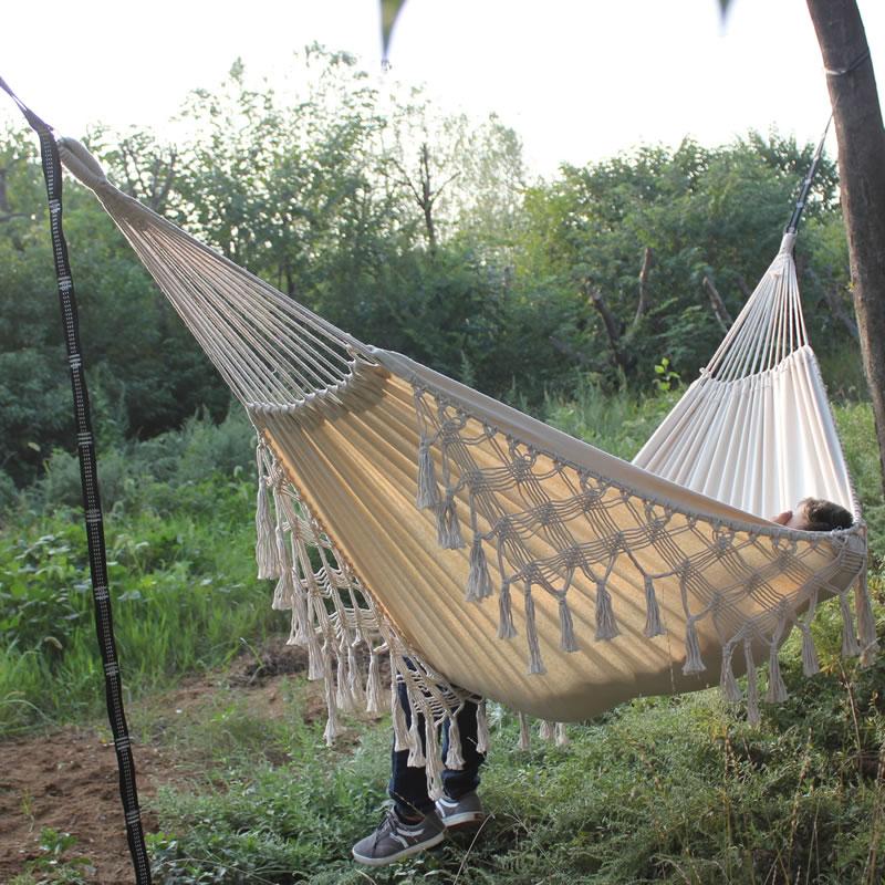 Hammock Boho Large Brazilian Macrame Fringe 2 Person Double Deluxe Hammock Swing Net Chair Indoor Hanging Chair Hammock Swings