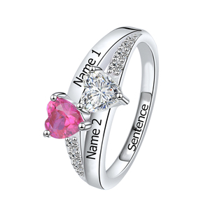 Image 1 - SG Personalized 925 Sterling Silver Rings Custom Heart Birthstone Ring With 2 Names Jewelry for Her Mother days Gift