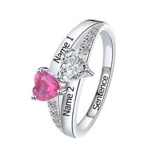 SG personnalisé 925 en argent Sterling anneaux personnalisé coeur pierre de naissance anneau avec 2 noms bijoux pour son cadeau de fête des mères